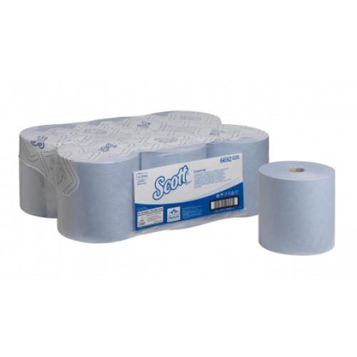 6692 Бумажные полотенца в рулонах Scott Essential голубые однослойные 6 рулонов по 350 метров