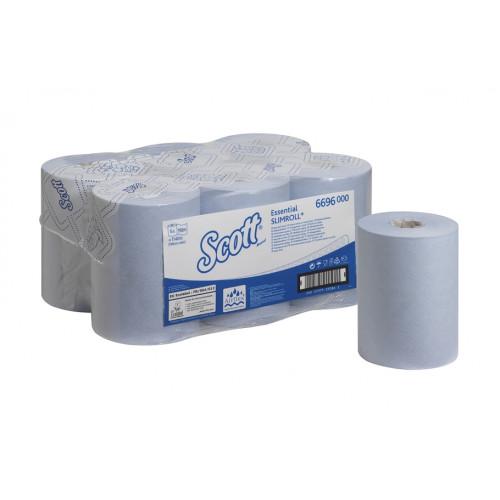 6696 Бумажные полотенца в рулонах Scott Essential Slimroll голубые однослойные 6 рулонов по 190 метров