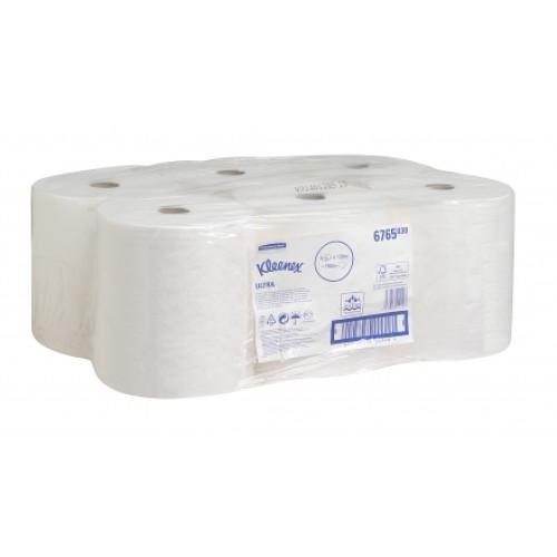 6765 Бумажные полотенца в рулонах Kleenex Ultra белые двухслойные 6 рулонов по 130 метров